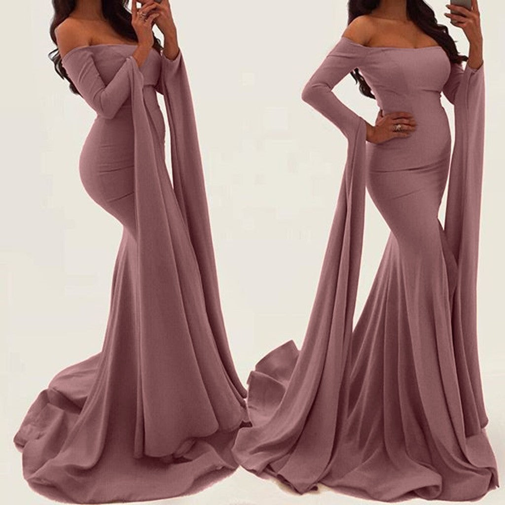 Women Dress Elegant Party Evening Slim  Long Sleeved Split  Maxi Dresses p3594Pink / XLBuy mate