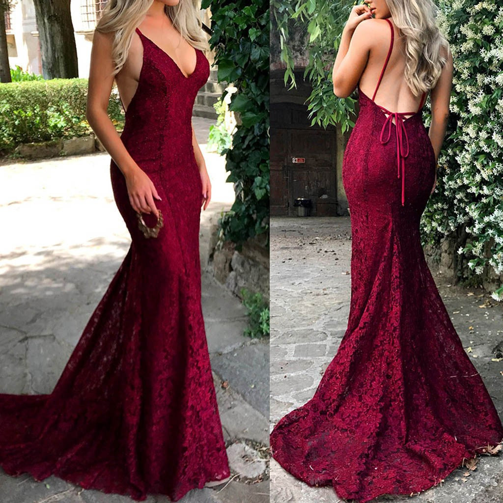 Women  Sling V Neck Wedding Dress  Elegant Party Evening Slim  Lace Maxi Dresses p3592Red / XLBuy mate