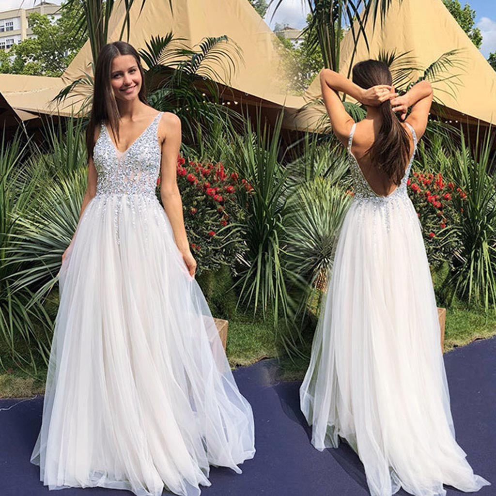 Women  Sleeveless V Neck Wedding Dress  Elegant Party Evening Slim  Maxi Dresses P3712White / XLBuy mate