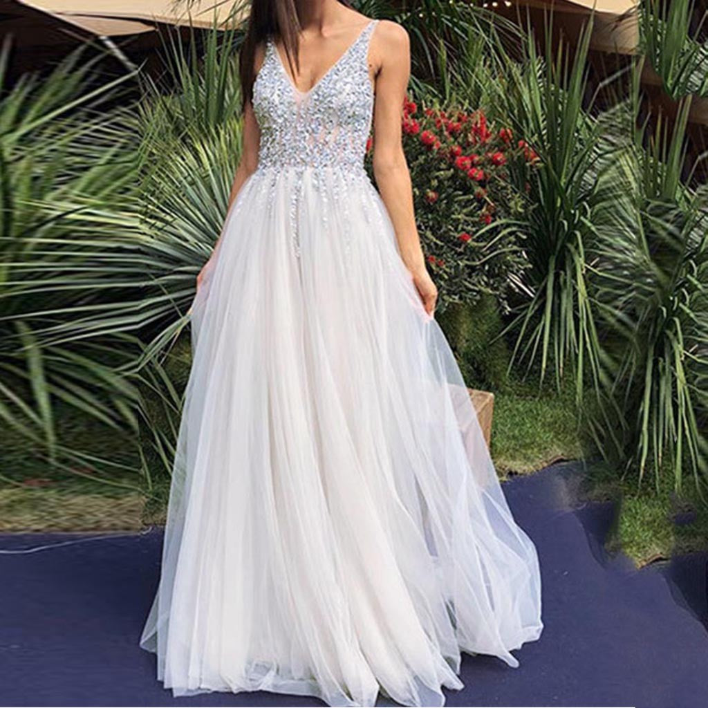 Women  Sleeveless V Neck Wedding Dress  Elegant Party Evening Slim  Maxi Dresses P3712Buy mate
