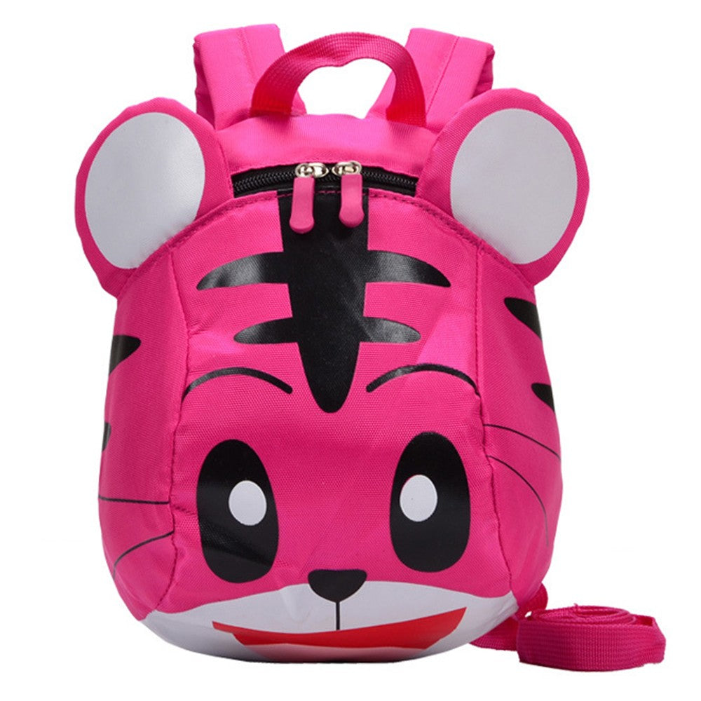 Kids School Bags With Safety Harness Nylon Cute Tiger Shaped Anti-lost Travel Backpack p2664