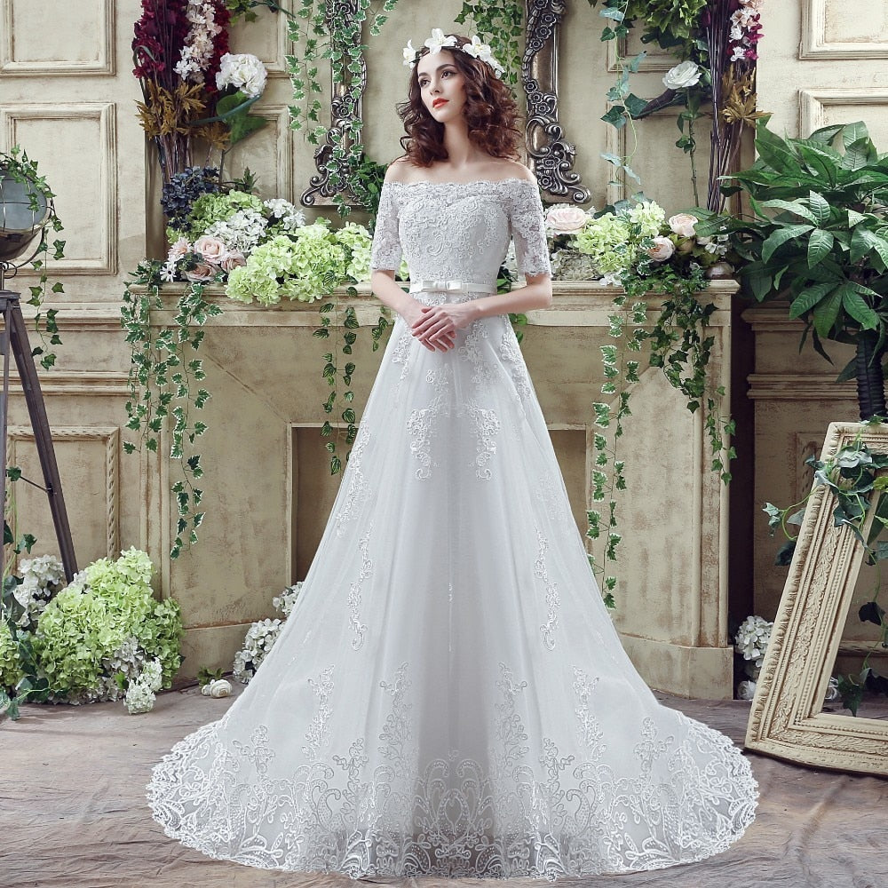Off Shoulder Short Sleeve Wedding Dress Lace Appliques Sashes Back Lace-up A-line Sweep Train Bridal Dress p3427