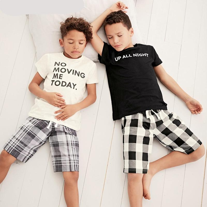 Boys Clothing Sets 2018 New Summer Popular Black White Letter T-Shirt + Plaid Pants p2588Buy mate
