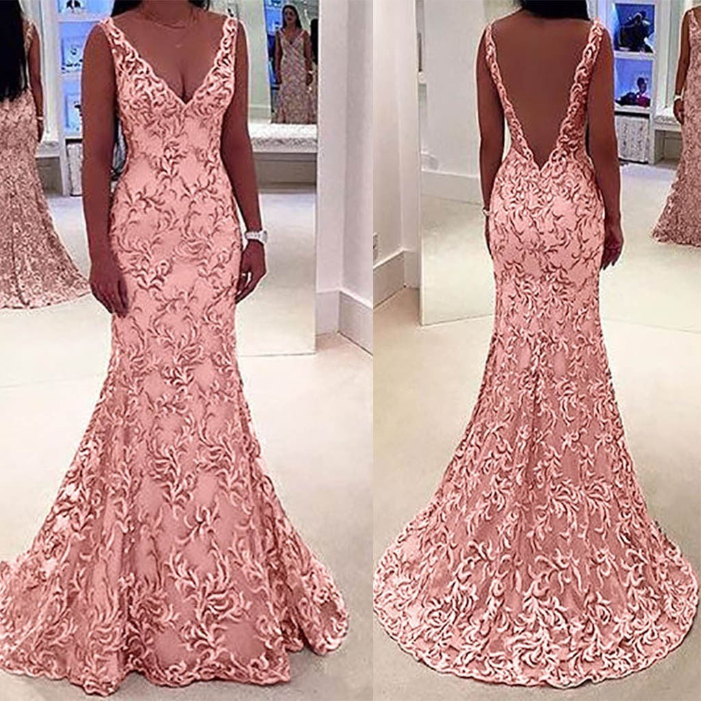 Women  Sleeveless V Neck Wedding Dress  Elegant Lace Evening Slim  Maxi Dresses p3593Pink / XLBuy mate