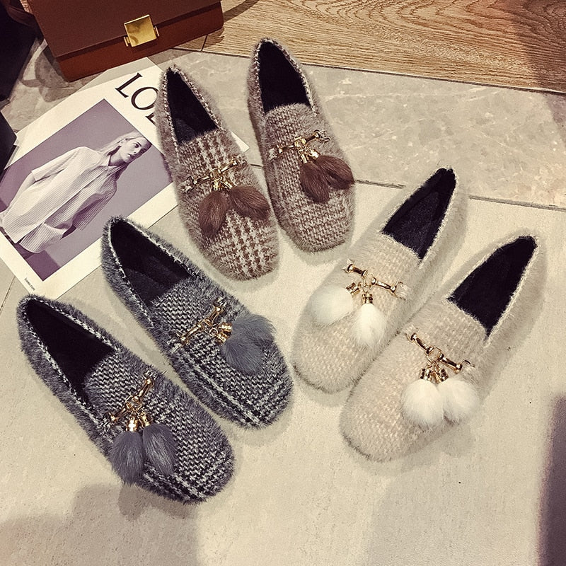 Women  Flats with Short Plush Women Causal Shoes Slip On Square