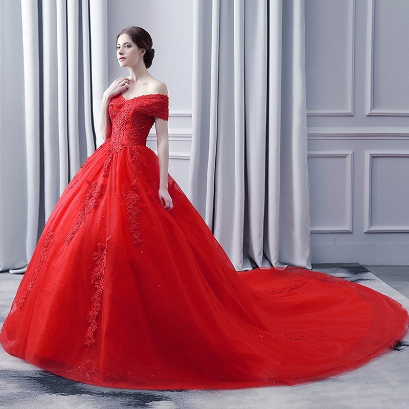 Luxury Bling Wedding Dress 2018 Red Cap Sleeve Ball Gown Wedding Dress Long Tail Short Sleeve p3614Buy mate
