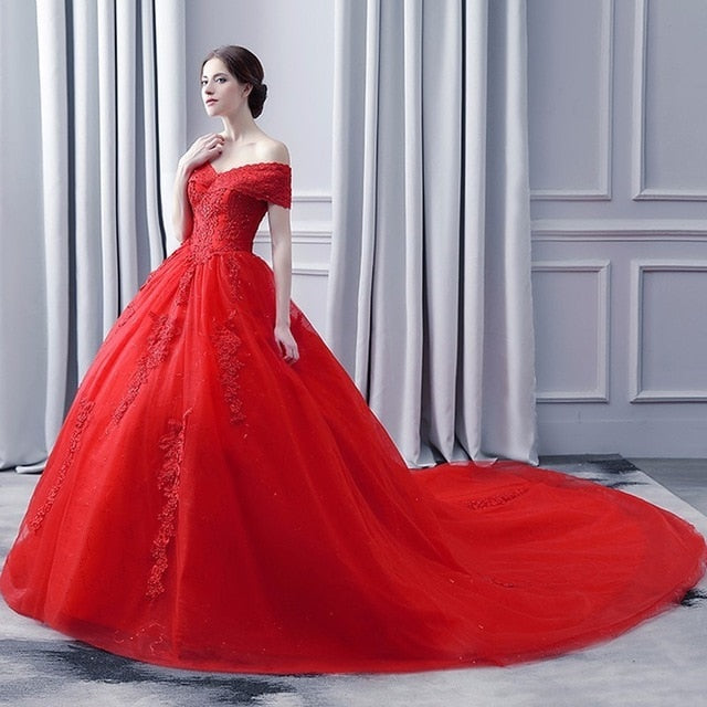 Luxury Bling Wedding Dress 2018 Red Cap Sleeve Ball Gown Wedding Dress Long Tail Short Sleeve p3614Red / Custom Size / 50cmBuy mate