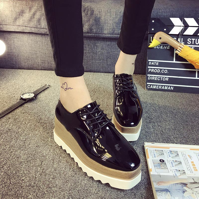 Women's Fashion Flat Platform Lace Up Solid Shoes with Square Toe Rubber Shallow Shoes p1908