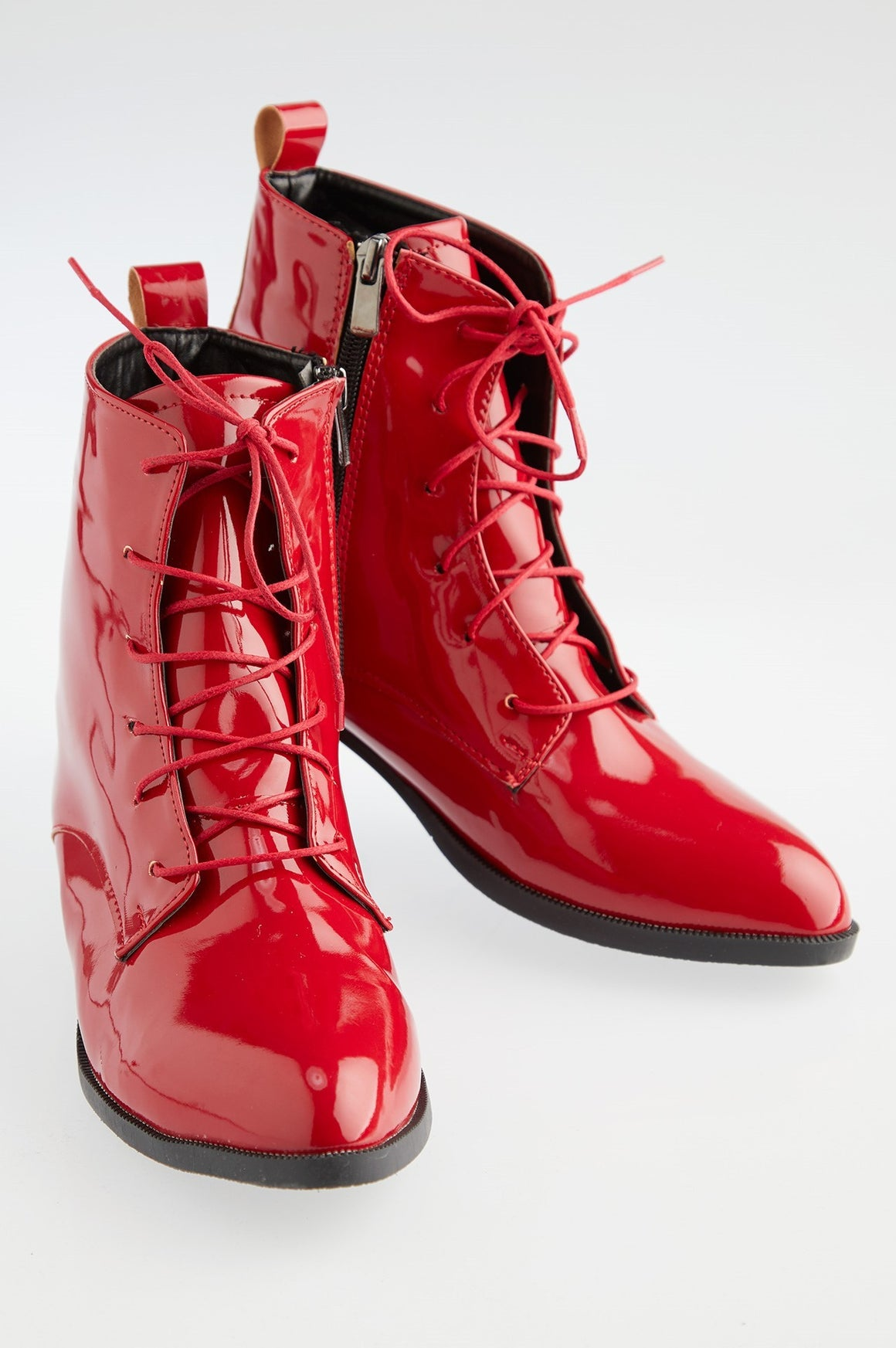 Women's Red Patent Leather Boots