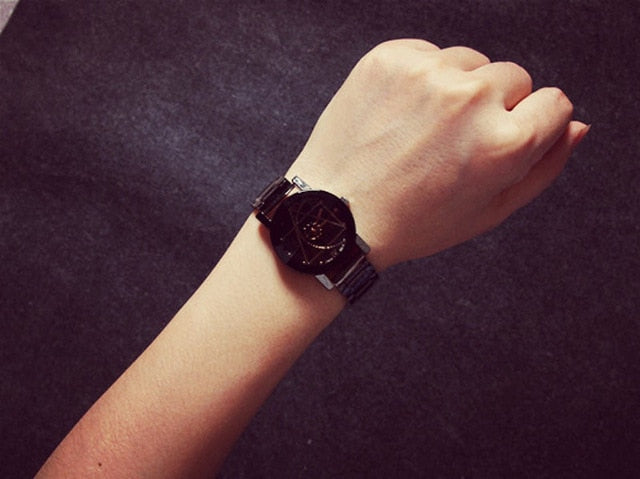 Splendid Original Brand Wrist Watch Couple Watch Men Women Stainless Steel Fashion Watches Clock p3488women blackBuy mate