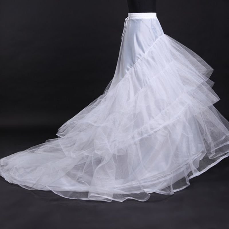 Bridal Wedding Dress Floor Length Petticoat Mermaid Fishtail Crinoline Drawstring Waistband Half Slips Ball Gown Underskirt  P3207
