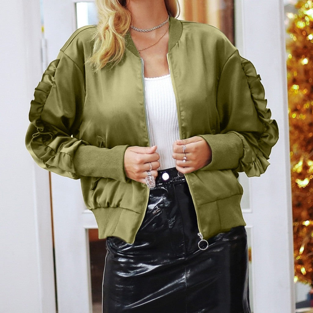 Women's Fashion Winter Pocket Zipper Long Sleeve Jacket Coat