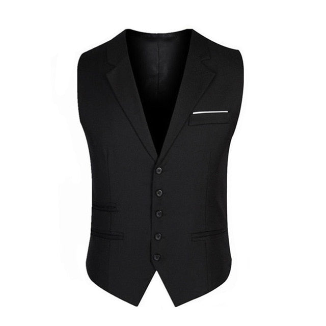 New Fashion Five Buttons Men's Vests Unique Design  Business Casual Slim Fit Men Vests p3600Black / XLBuy mate