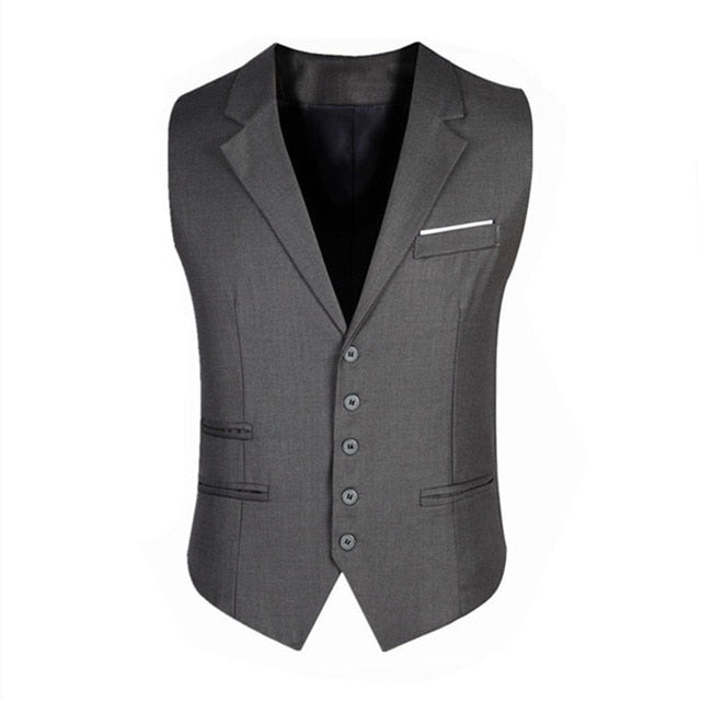 New Fashion Five Buttons Men's Vests Unique Design  Business Casual Slim Fit Men Vests p3600Gray / XLBuy mate