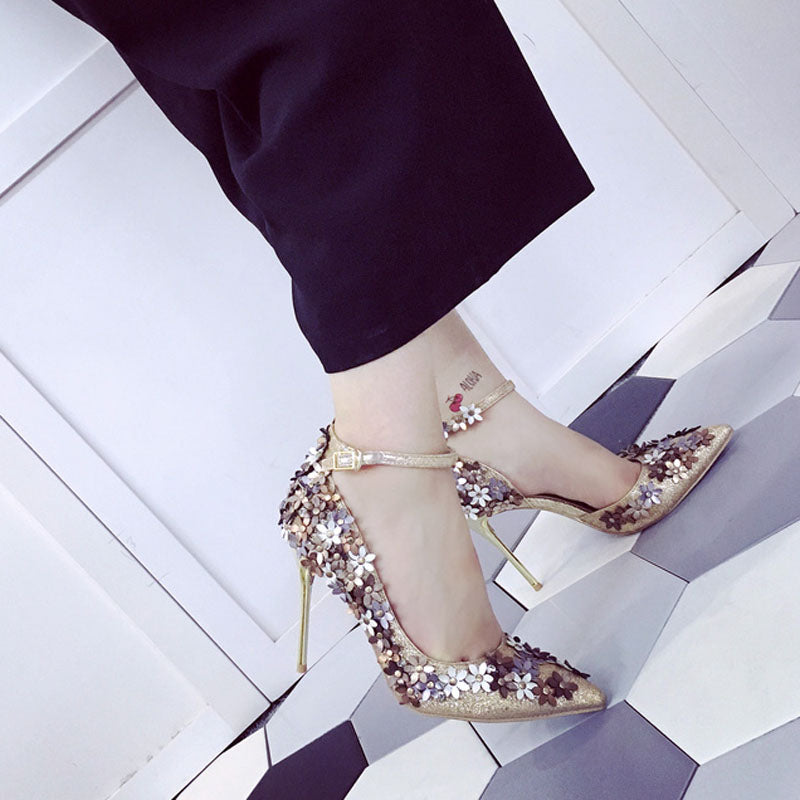 Women Super High Heel with Pointed Toe Buckle Strap Rubber Heels