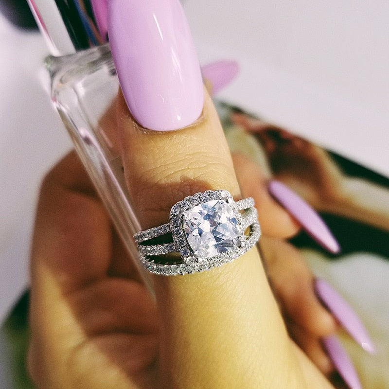 Fashion Design 925 Silver Couple Rings AAA CZ Stone Engagement Ring Set for Women Wedding Jewelry R4627SBuy mate