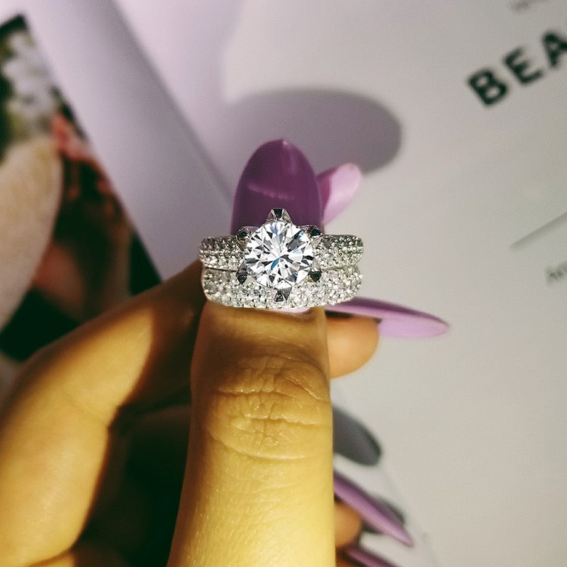 Fashion Design 925 Silver Couple Rings AAA CZ Stone Engagement Ring Set for Women Wedding Jewelry R4632SBuy mate