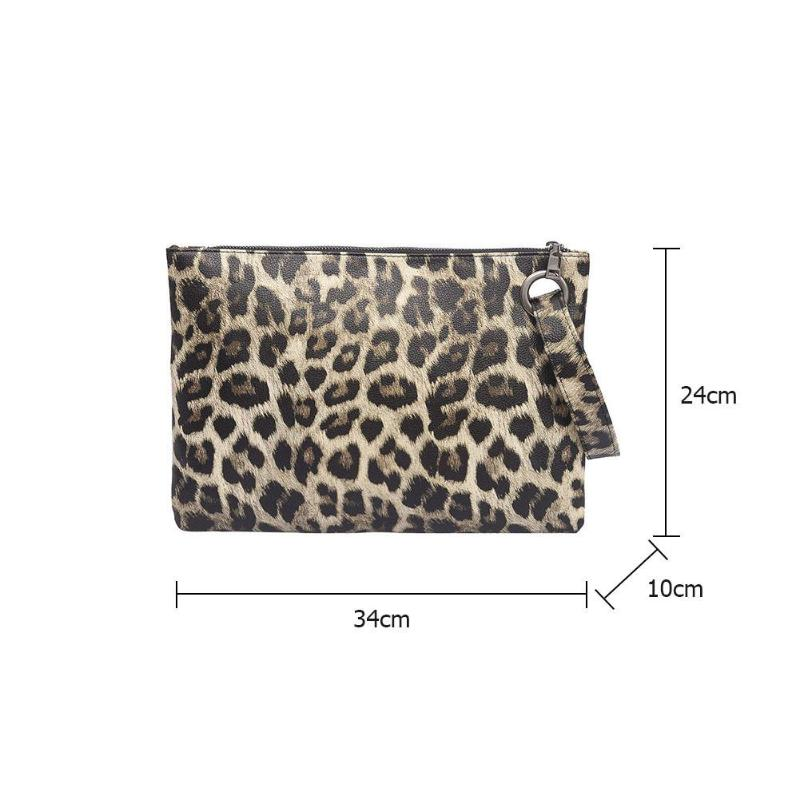 Animal Print Clutch PU Leather Messenger Bag Women Zipper