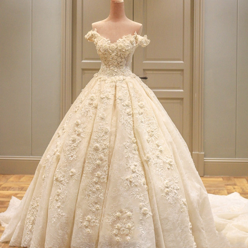 New Stylish A-Line Wedding Dress Appliques Flowers Bridal Gowns Dresses Custom Made vestidos de noiva p3609Buy mate
