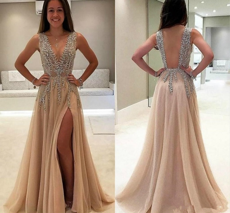New Luxury Beading Evening Dress Sequins Sexy V-neck Backless High-split Champagne p3419Buy mate