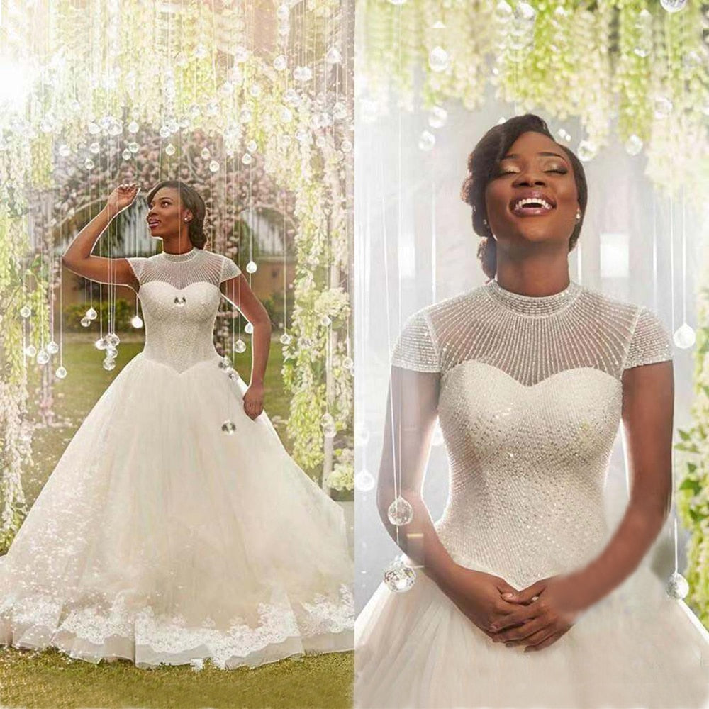 2019 The Latest Luxury Beaded African Ball Gown Wedding Dress Cap Sleeve Bridal Customized p3574