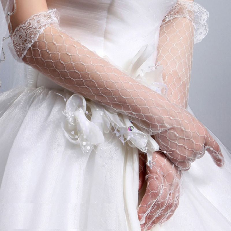 Womens White Stretchy Elbow Length Bridal Wedding Long Gloves  p3572Buy mate
