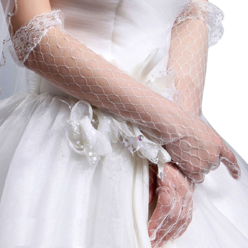 Womens White Stretchy Elbow Length Bridal Wedding Long Gloves  p3572