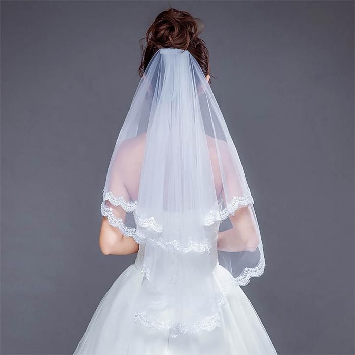 2018 Fashion Beautiful Ivory Cathedral Short Lace Edge Bride Veil