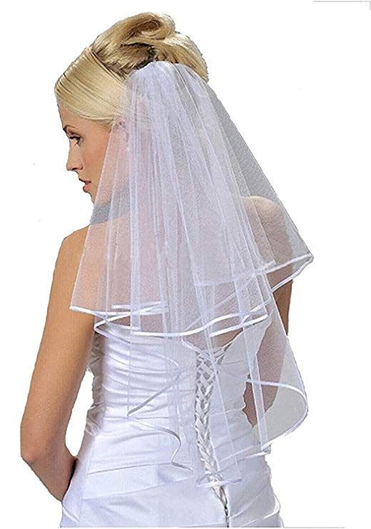 Women's 2 Layers Short Bridal Veil Wedding With Comb 2019 p3517Buy mate