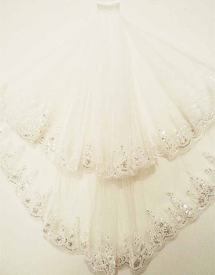 In Stock Ivory White Two Layers Tulle Beaded Sequins Lace Edge Wedding Veil Short Bridal Veil p3516Buy mate