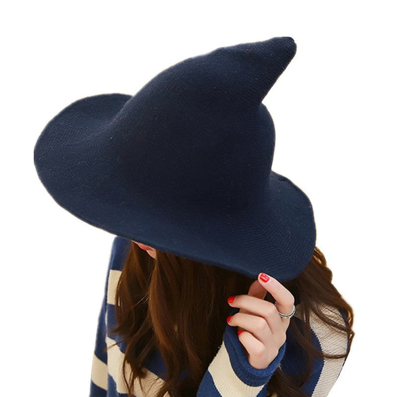 Women Modern Witch Hat  Wool Cap Knitting Fisherman Hat Female Fashion Witch Pointed Basin Bucket Hat p3793