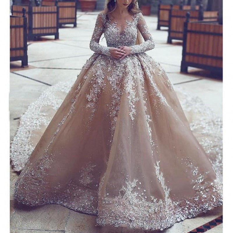 Stunning Beaded A Line Champagne Bridal Dress Detachable Tail Wedding