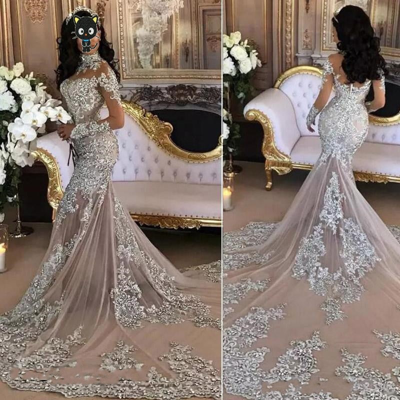 Arabia Vogue Bridal Dresses Mermaid Full Sleeves Wedding Gowns Brand Design Beaded Crystals Sliver p3620Buy mate