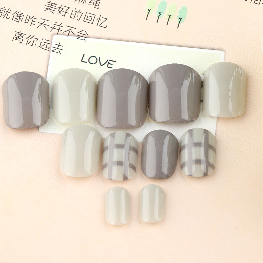 Fashion Style Women Ladies French 3D Matte Art Fake Short False Nails Full Tips Sticker With Glue Short False Nails p3619