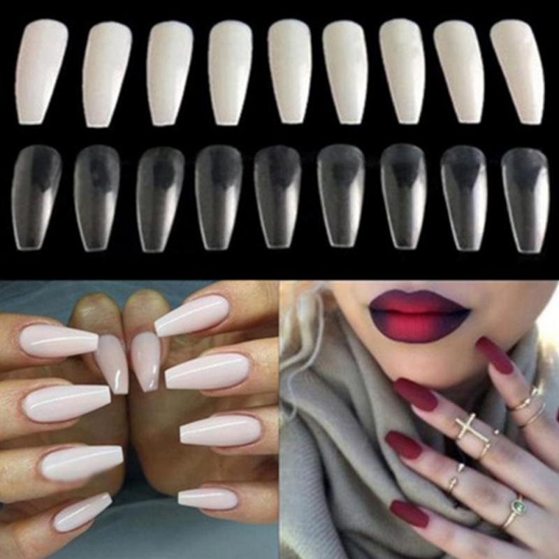2018 New DIY Hot Women Fake Long Full Cover Coffin Shape Nail Art Tips False Ballerina Nail p3631Buy mate