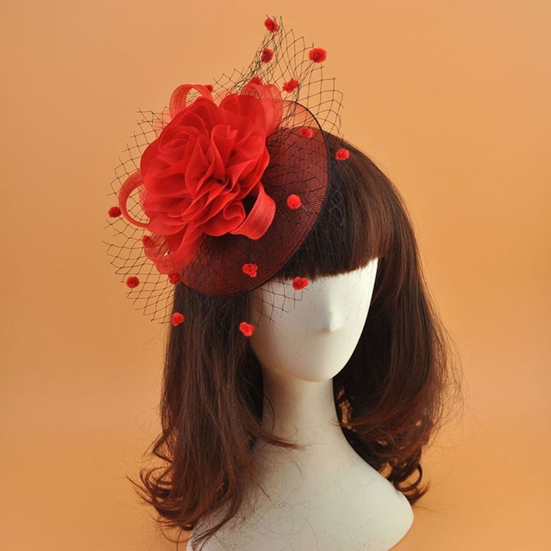 Mesh Veil Hat Hair Clip Elegant Ribbon Big Flower Solid Color Fascinator Small Plush Wave Point p3656Buy mate