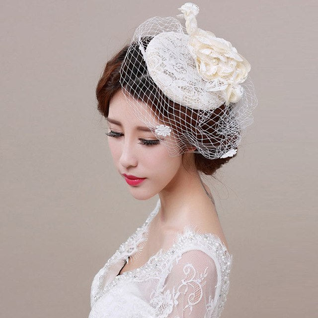 Bridal Fascinator Face Veils Feather Flower with Hairpin p3655Default TitleBuy mate