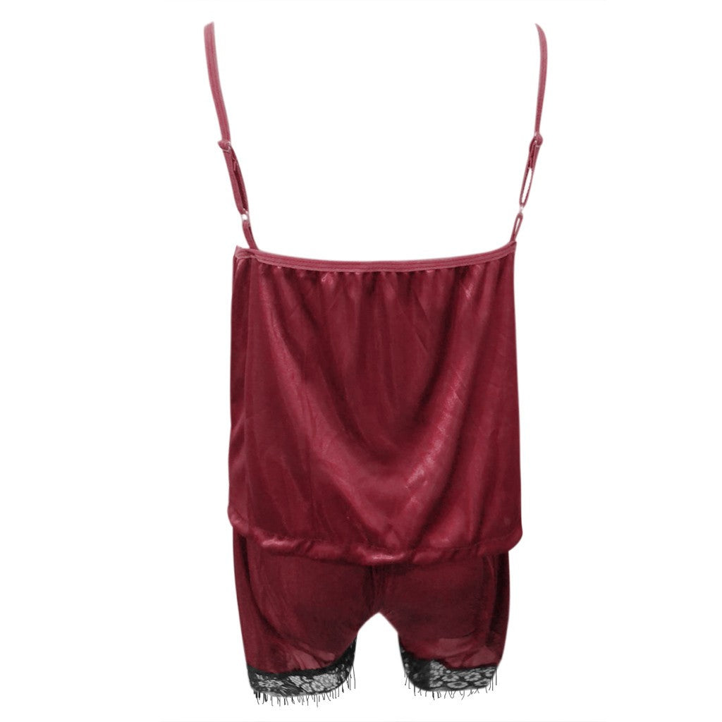 Women Sleepwear Sleeveless Strap Nightwear Lace Trim Satin Cami