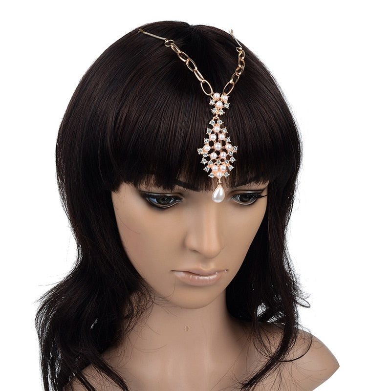 Faux Pearls Bindi Hair Clip Chain Barrettes Fashion Head Jewelry Ethnic Style Bridal p3674Buy mate