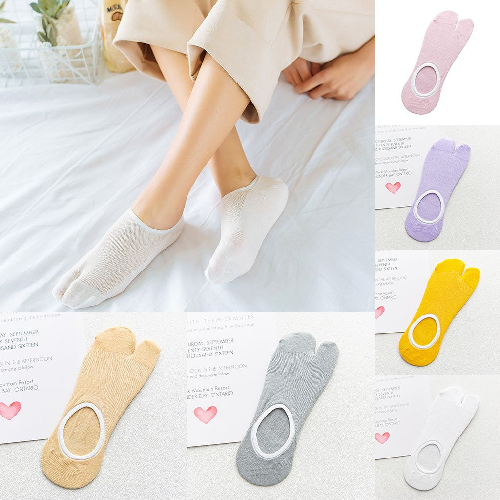 Women Print Multicolor Toe Socks Two Finger Socks Warmer Funny