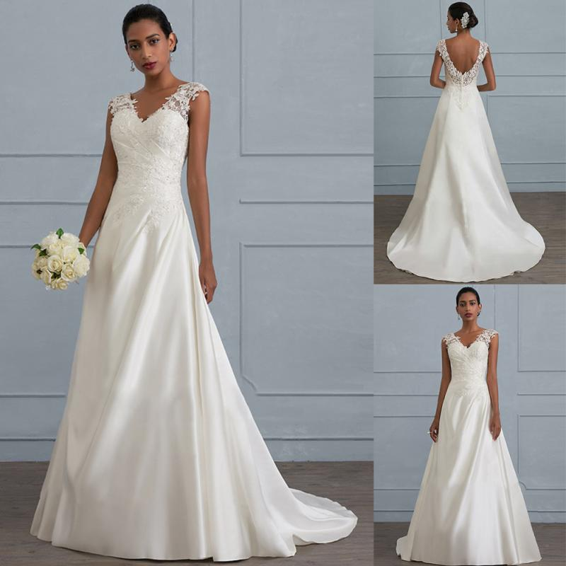 Women Floral Elegant Wedding Sleeveless V Neck Formal Backless