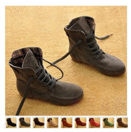 Female Women's Boots Flat Boots Lace Ankle Boots For Women Rome