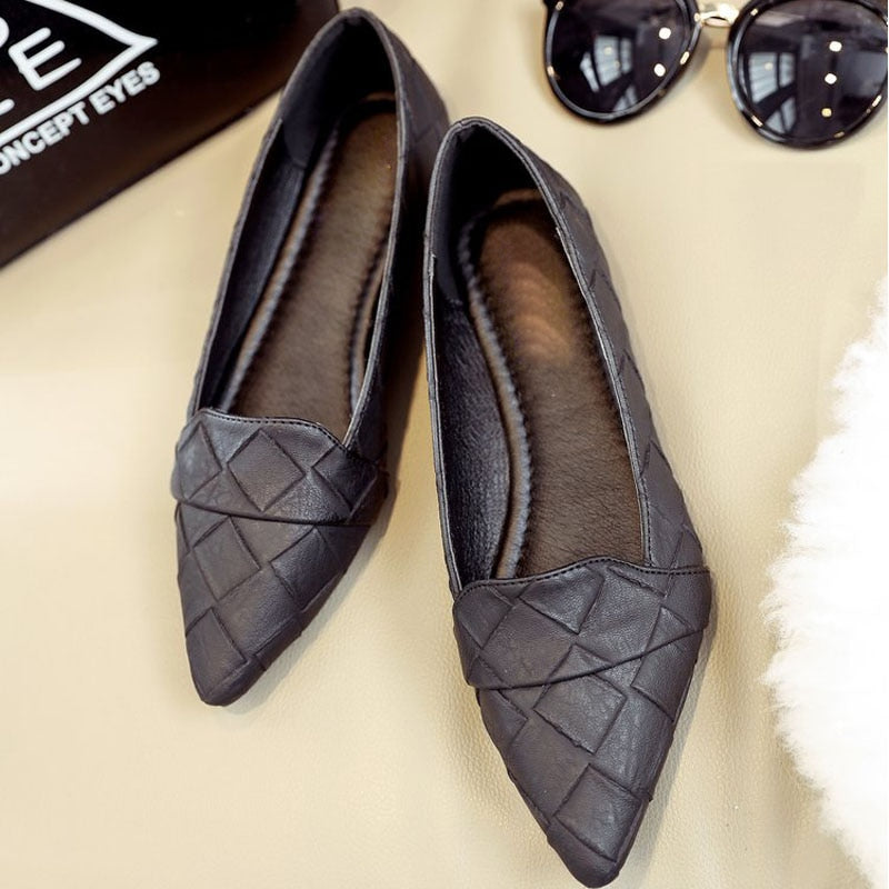 Women Flat Shoes Solid Shallow Casual Comfortable Slip On Shoes