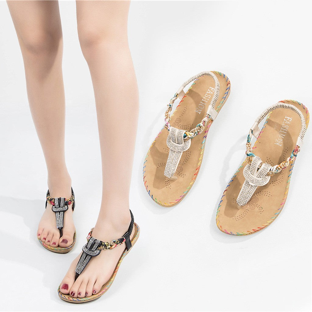 Women Fashion Crystal Sewing Roma Style Slipper Sandals
