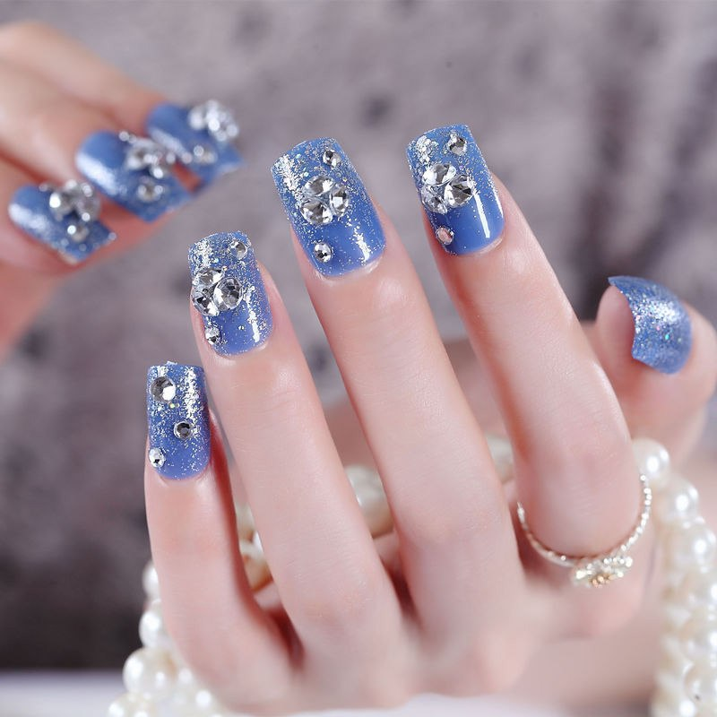Blue Fake Nails Bride False Nail Glitter Nail Tips with Glue Fashion  Nails Art Floral Decorations Stickers p3912Buy mate