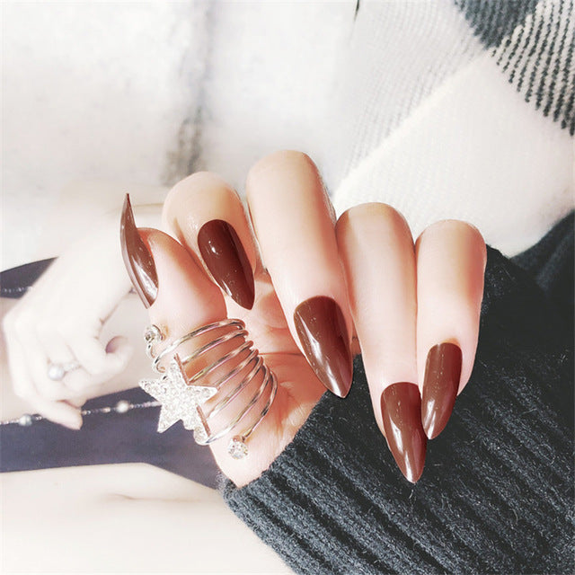 Full Cover Matte False Nail Tips Sharp Pointed Soft Fake Stiletto Nails Pure Candy Colour p3917F109Buy mate