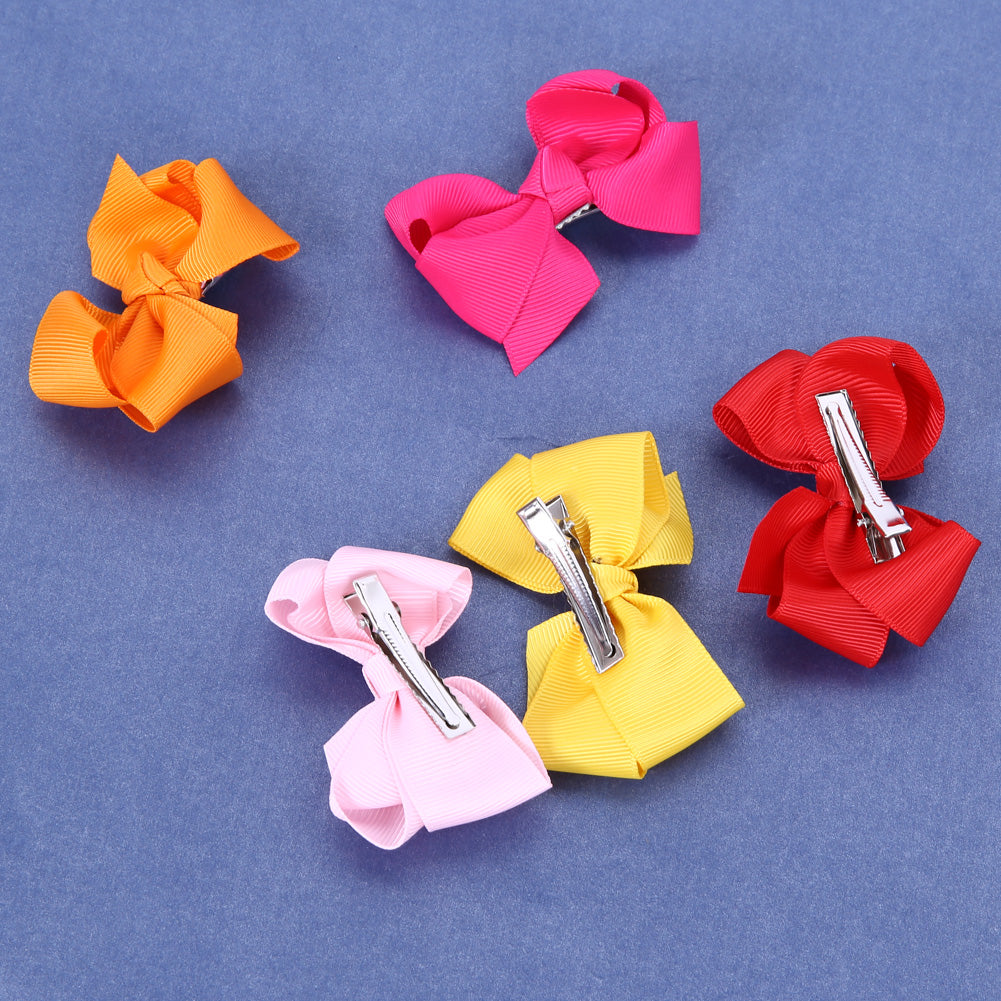 20pcs/lot Grosgrain Ribbon Boutique Large Solid Bows Hair Clip