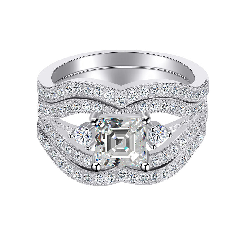 r4476s -  TWLLE Jewelry-- Affordable Sterling Silver Engagament & Wedding Ring - Affordable Sterling Silver Wedding Engagement Ring in Nigeria
