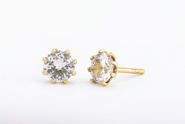 White Quartz Stud Earrings