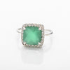 Green Onyx Square Sparkle Ring